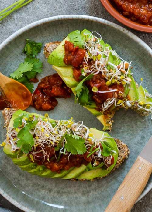 Bild von Geröstetes Körnerbrot mit Avocado, Tomatenchutney und Sprossen